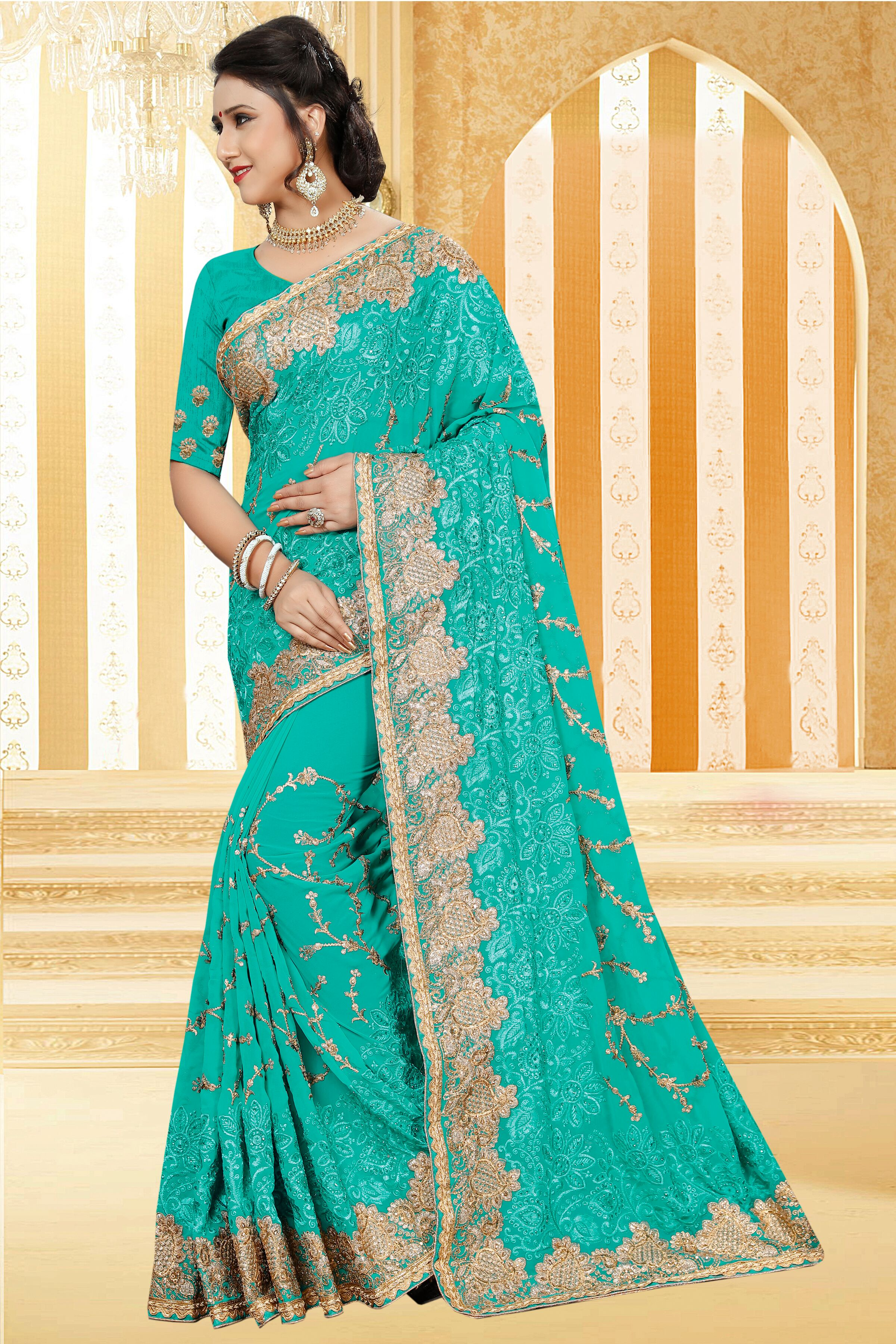 Enhance Your Personality Wearing This Heavy Embroidered Designer Saree