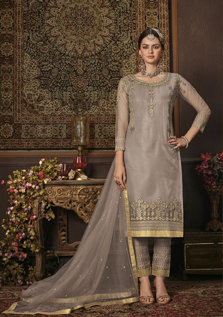 This Season Is About Subtle Shades And Pastel Play; So Grab This Heavy Designer Straight Suit